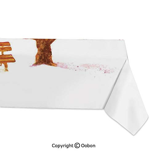 Space Decorations Tablecloth, Watercolor Blooming Cherry Tree in The Park with Wooden Bench Floral Art Print, Rectangular Table Cover for Dining Room Kitchen, W60xL120 inch