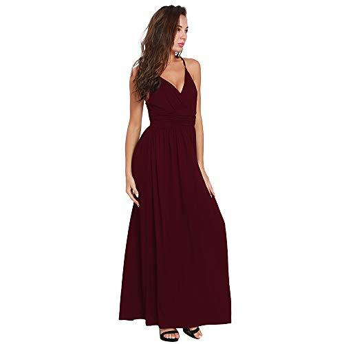 Wagyunfei Femmes Summer Sexy V-Cou Sling Big Swing Banquet serpillire Rouge
