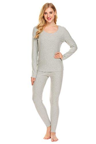 Goldenfox 2 Piece Thermal Underwear Womens Ski Base Layer Set Thermal Leggings & Thermal Shirt (Gray, Small)