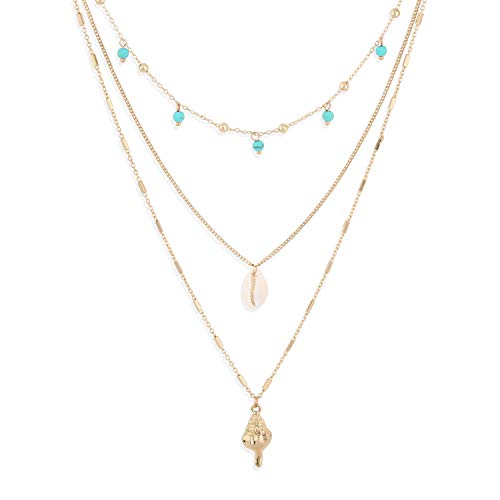 (LOYATA Bohe Multilayer Necklace Conch Pendant Necklace for Women 14K Gold Plated Delicate Charm Shell Turquoise Beads Bar Choker Summer Beach Bohemian Jewelry (Conch))
