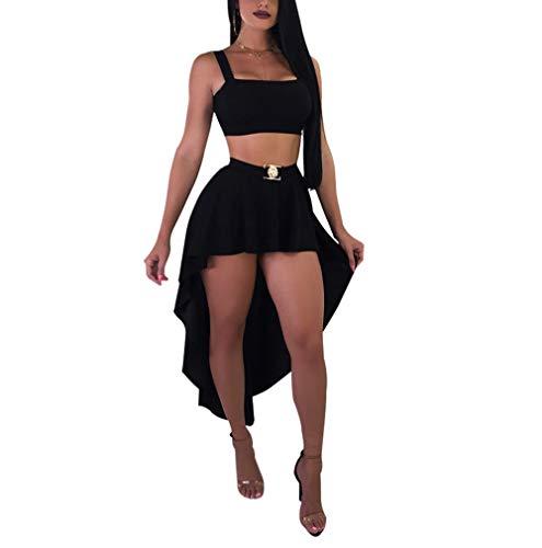 Women 2 Piece Outfits Crop Sling Top Ruffle Irregular Skirt Tuxedo Dresses Set Club Party Dress Black M ()
