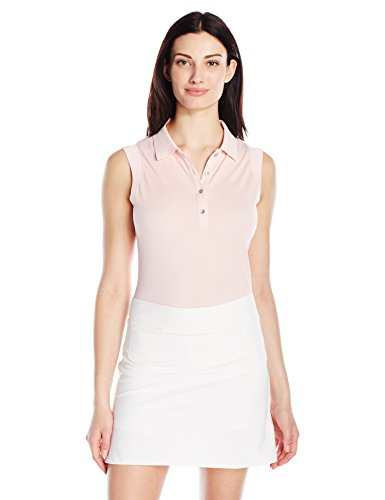 Cutter & Buck Women's Moisture Wicking Sleeveless Charlie Oxford Polo Shirt, Deco/Snow, M
