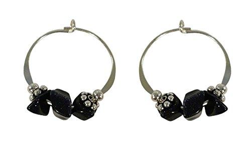 (Bali Sky Small Sterling Silver Black Stone Bead Hoop Earrings SHS055)