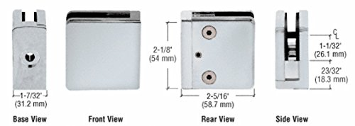 (CRL Satin Chrome Z-Series Square Type Flat Base Zinc Clamp for 1/2 Glass)