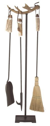 Antler fireplace set w/metal base/straw broom. Real Deer ...