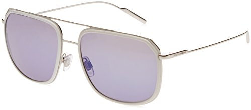 Dolce & Gabbana Men's Metal Man Non-Polarized Iridium Aviator Sunglasses, White/Silver, 58 - Men Eyewear Dolce Gabbana