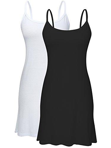 Century Star Womens Plain Long Basic Camisole Cami Cotton Tank Top w/ Adjustable Spaghetti Straps 2 Pack - Black/White 6XL / US 18W-22W