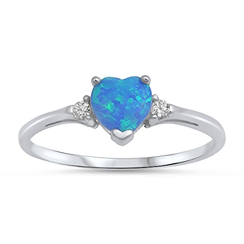 Sac Silver  Sterling Silver Blue Simulated Opal  Heart Promise Ring, 4