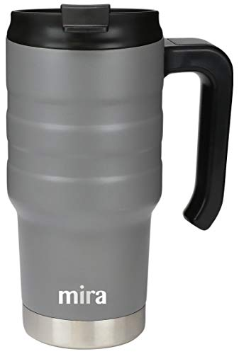 MIRA 20 oz Stainless Steel Travel Car Mug with Handle & Spill Proof Twist On Flip Lid - Vacuum Insulated Thermos Tumbler Keeps Coffee, Tea, Drinks Piping Hot or Ice Cold - Gray