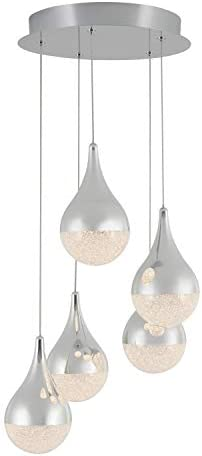 Artika PDT-5GL-RN Glitzer 5-LED Integrated Pendant Light Spiral