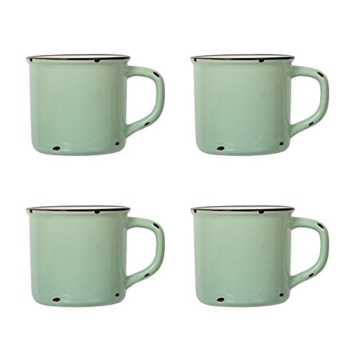 CTG, Luciano Collection, Ceramic Enamel Look Mug Set, Pack of 4, Mint Green