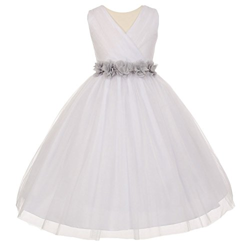Big Girls White Silver Chiffon Flowers Tulle Junior Bridesmaid Dress - Wedding Couture Allure Dresses