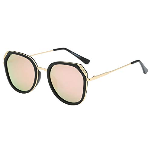 BEEAN Polarized Mirrored Sunglasses Trendy Stylish Cat Eye Sun Glasses for Women, Black, Pink