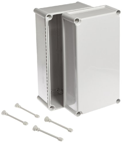 BUD Industries NBD-15445 Style D Plastic Outdoor Box with Solid Door, 15'' Length x 7-33/64'' Width x 7'' Height, Light Gray Finish by BUD Industries