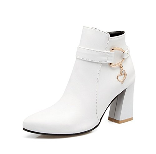 XZ Autumn and Winter Fashion Pointed Short Boots Low Tube Female Boots White u4cpOpQ9
