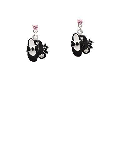Black Enamel Drop - Black Enamel Tap Shoes Light Pink Crystal Post Earrings