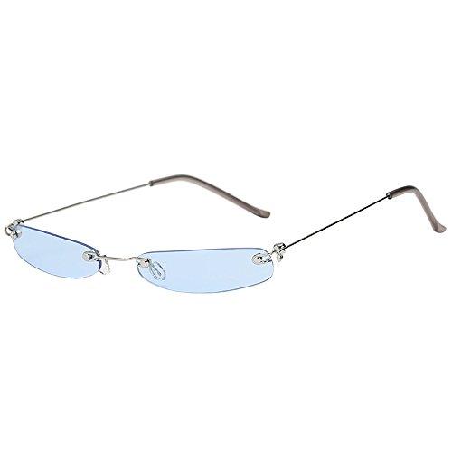 - JJLIKER Small Metal Frame Sunglasses for Men and Women Rectangular Rimless Eyewear Lightweight Candy Color Goggles