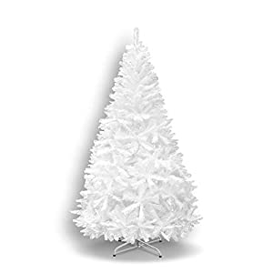 7' White 210CM New Classic Pine Christmas Tree Artificial Realistic Natural Branches-Unlit with Metal Stand 12