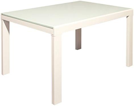 Mesa extensible cristal lacado blanco cocina comedor moderno de ...