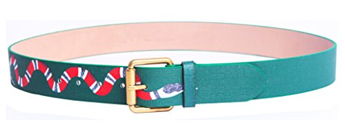 Yuangu Men's Coral Snake Print 38-mm Italian Leather Belt (105cm/41.3inch (34-36), Green)