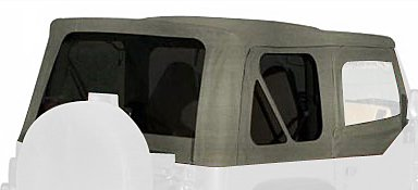 Top Hardware Soft (RAMPAGE PRODUCTS 68211 Complete Soft Top with Frame & Hardware for 1987-1995 Jeep Wrangler YJ, with Soft Upper Doors, Grey Denim w/Tinted Windows)