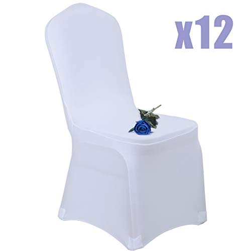 Voilamart Dining Wedding Chair Covers Set of 12pcs, Polyester Spandex Stretchable Banquet Chair Slipcover Decoration for Wedding Party Meeting Dining - White ()