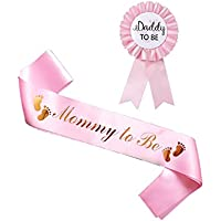HAPPYLAND Pink Sash and Tinplate Badge Mommy to Be and Daddy to Be Baby Shower