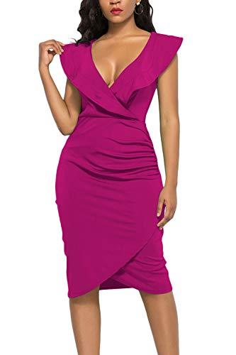 (WIWIQS Women's Sexy Deep V Neck Sleeveless Bodycon Ruffle Dress Front Slit Midi Club Dress,Rose,M)