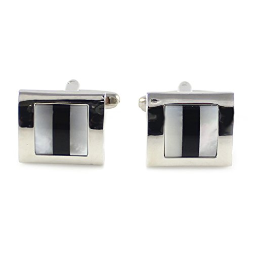 MENDEPOT Fashion Men's Onyx and mop Cufflink Rhodium Plated with Multi Stone Cufflink