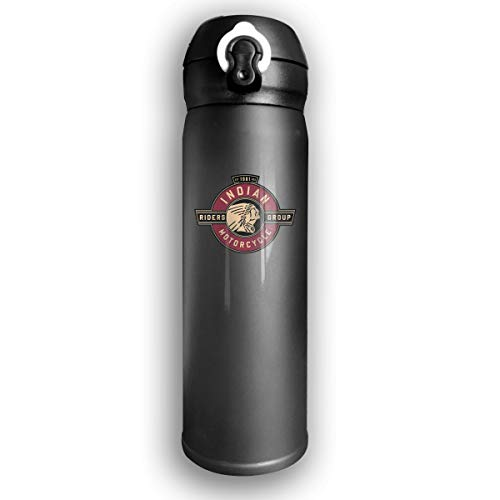 Ruige Hongke Indian Motorcycle Riders Group Logo Fashion Scrub Business Water Bottles Black One Size