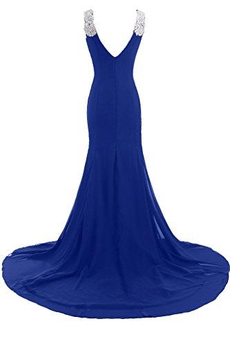 profondo sera V Chic da a Blue Vestito lungo scollo Royal donna formale da Sunvary Gowns abiti 05dIcwIq
