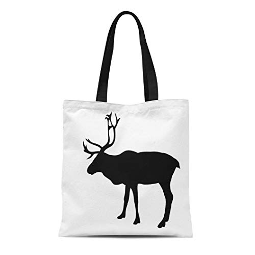 Semtomn Canvas Bag Resuable Tote Grocery Adorable Shopping Portablebags Elk Silhouette of Noble Deer Adult Animal Antler Beautiful Black Drawing Forest Natural 14 x 16 Inches Canvas Cloth Tote Bag