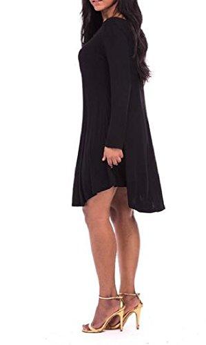 Manches Longues Simples Tendance Des Femmes Coolred V Cou Solide De Noir Mini Robe Casual