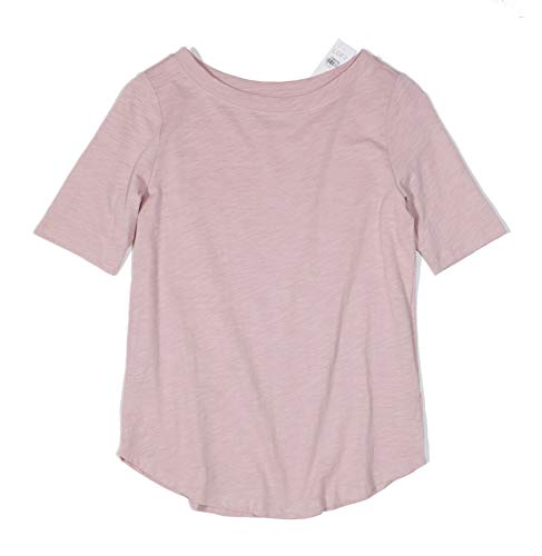 (Ann Taylor LOFT - Women's Vintage Cotton Elbow Sleeve Tee (Medium, Pink))