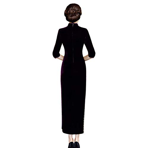 Longue Demi Cheongsam Hiver Velours En Femme Costumes Manche Traditionnels Violet Qipao Xinvision Robe Chinoise qzwxHnA4zt