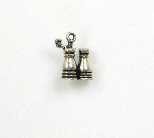 Key Salt Mill - Sterling Silver 3-D Salt Pepper Mill Charm - Jewelry Accessories Key Chain Bracelet Necklace Pendants