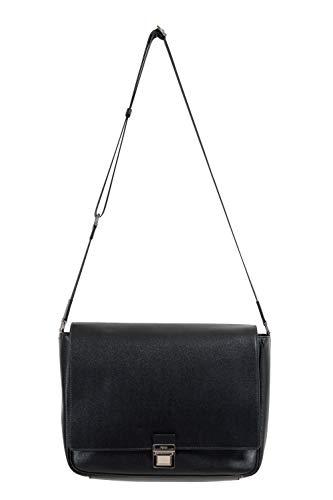 Fendi Unisex Black Saffiano Leather Messenger Shoulder Bag