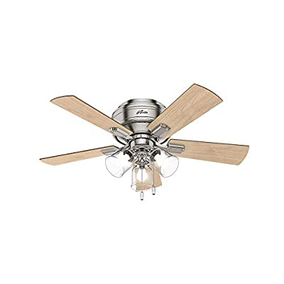 Hunter Fan Company Hunter 52154 Transitional 42`` Ceiling Fan with Light from Crestfield Collection in Pwt, Nckl, B/S, Slvr. Finish Brushed Nickel