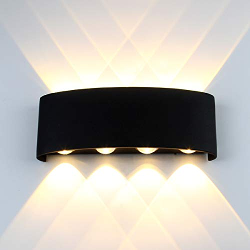 Passica Modern Outdoor LED Wall Light 3000K Warm Light Directional 8-Light Up and Down Waterproof Sconce Porch Black Metal Matte Wall Lamp ()