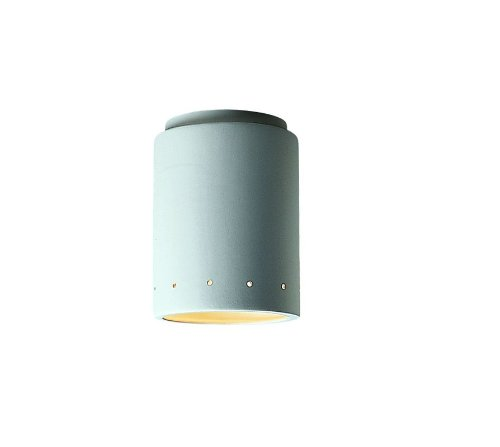 (Justice Design CER-6105W-TERA Flush-mount Cylinder W/Perfs Outdoor, Choose Finish: Terra Cotta Finish (Smooth Faux), Choose Lamping Option: Standard Lamping)
