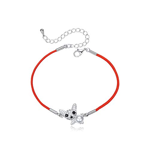 Show Quality Silver Mosaic (WOFEIYL Lady Bracelet Lucky Cute Dog S925 Sterling Silver Ladies Red Rope Bracelet)
