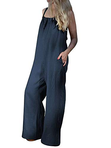 (Sobrisah Women's Summer Casual Spaghetti Strap Wide Leg Loose Fit Jumpsuit Rompers Blue Tag 4XL-US 3XL)