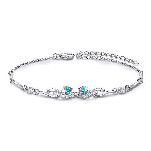 CDE Magic Square Embellished with Crystals from Swarovski Women Bracelet White Gold Plated Bracelet Bangle, Fashion Charm Adjustable Bracelet for Girls