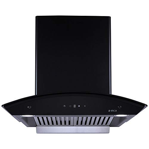 Elica 60 cm 1100 m3/hr Auto Clean Chimney (TBC HAC TOUCH BF 60 NERO, Baffle Filter, Touch Control, Black)