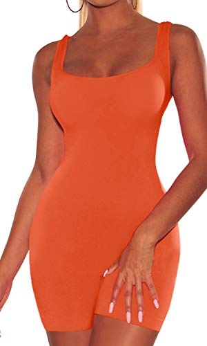 - Enggras Women's Scoop Neck Tank Sport Summer Romper Leotard Unitard Bodysuit Bodycon Jumpsuit Orange M