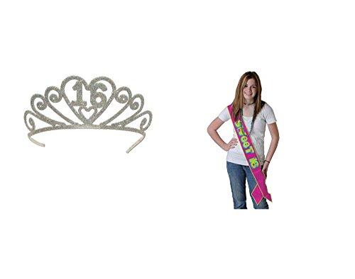 Pretty SWEET 16 Birthday Party Sash & Metal Tiara - SIXTEEN 16th - Debutante - Pretty Tiara