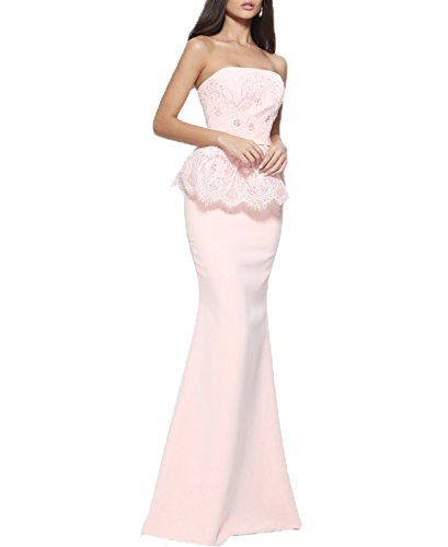 Long Evening Formal Chiffon Line Pink Lace Light Prom Sexy Dress Back A Open BONBETE Pink Dress w0B7YPqng