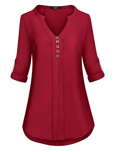 Marbetia Blouse 3/4 Sleeve,Flowy Loose Fit Notch V Neck Petite 3/4 Cuffed Sleeve Simple Daily House Wear Pleated Novelty Clothes Wine XX-Large