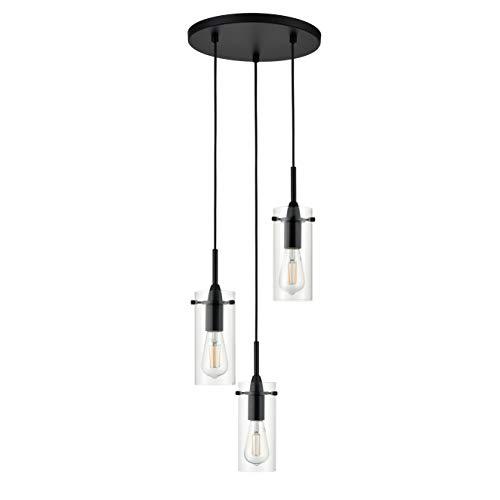 (Effimero Multi Pendant Lighting for Kitchen Island | Black Chandelier Cluster Pendant 3 Light Fixture LL-C43-5BLK)