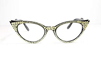 3e1dc12ca391 Image Unavailable. Image not available for. Color  Vintage Cat Eye Reading  Glasses with Swarovski Crystals ...